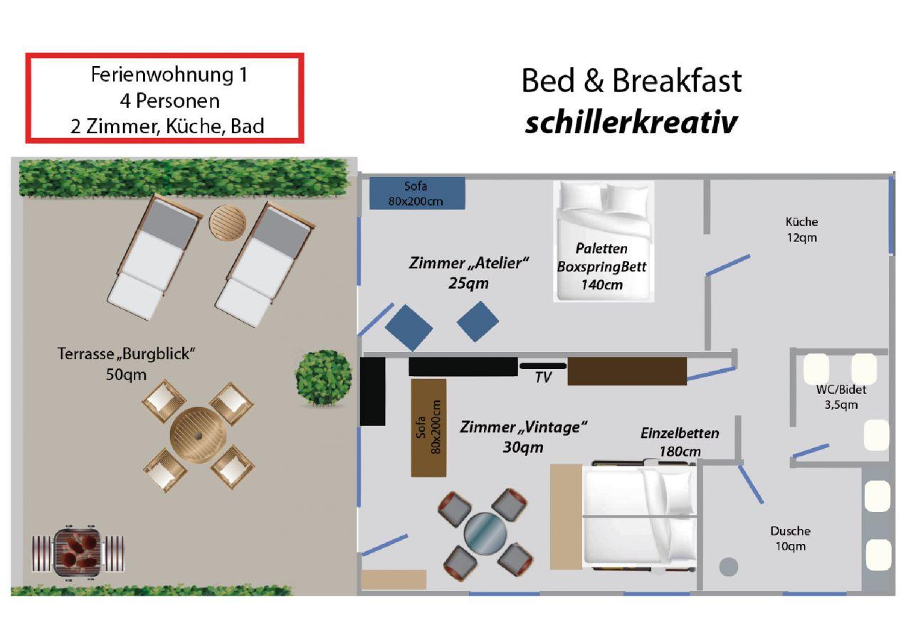 Ferienwohnung 1 - Bed & Breakfast - Ferienwohnung in Nideggen